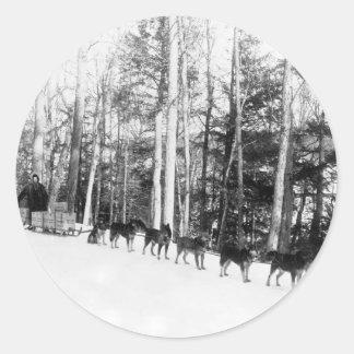 Alaska Dog Sledding Round Sticker