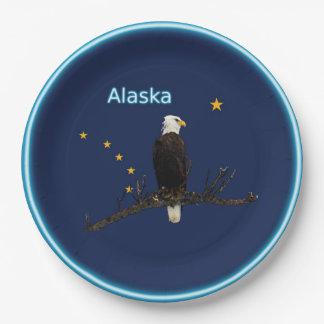 Alaska Eagle And Flag Paper Plate