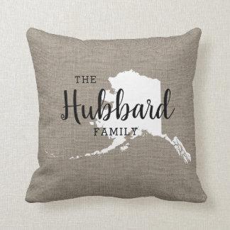 Alaska Family Monogram State Throw Pillow