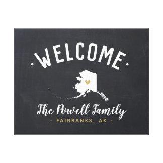 Alaska Family Monogram Welcome Sign