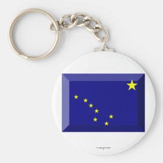 Alaska Flag Gem Basic Round Button Key Ring