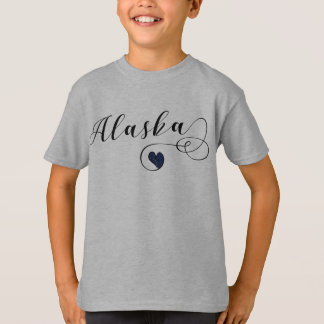 Alaska Heart Tee Shirt, Alaskan Flag