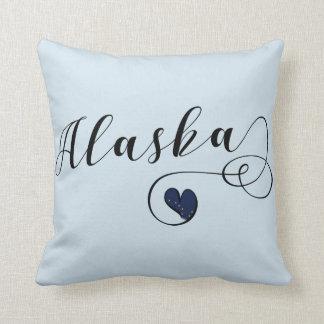 Alaska Heart Throw Pillow, Alaskan Flag Cushion