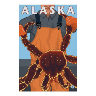 Alaska - King Crab and Fisherman Poster