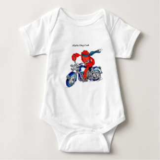 Alaska King Crab on Motorcycle Baby Bodysuit