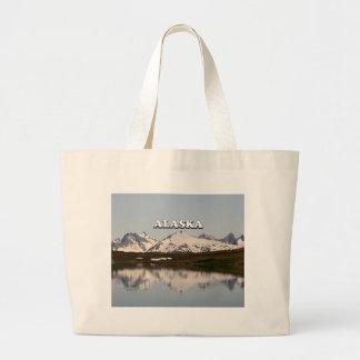 Alaska: Lake reflections of mountains Large Tote Bag