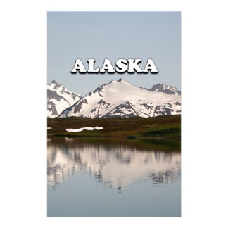 Alaska: Lake reflections of mountains Stationery