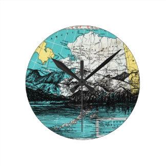Alaska Map Art Round Clock