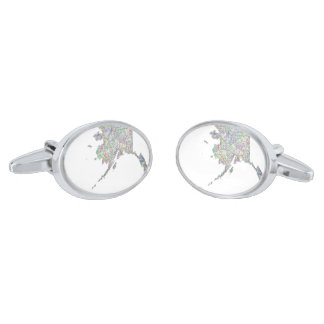 Alaska map silver finish cufflinks