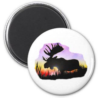Alaska Moose Sillouette 6 Cm Round Magnet