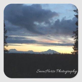 Alaska Mountain Range Sunset Square Sticker