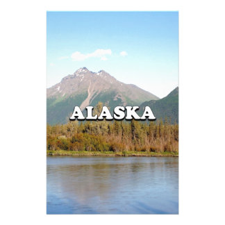 Alaska: mountains, forest and river, USA Stationery