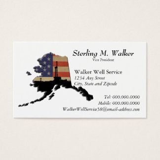 Alaska Patriotic Oil Drilling Rig Business Card
