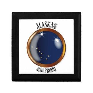 Alaska Proud Flag Button Gift Box