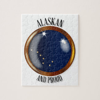 Alaska Proud Flag Button Jigsaw Puzzle