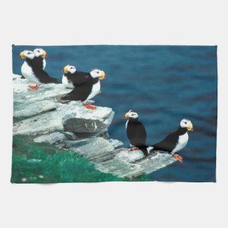 Alaska Puffins Feathered Colorful Birds Tea Towel