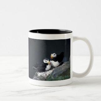 Alaska Puffins Feathered Colorful Birds Two-Tone Coffee Mug