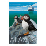 Alaska - Puffins watching a Cruise Ship