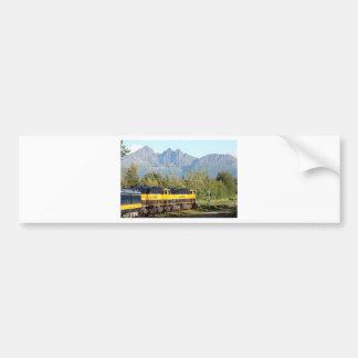 Alaska Railroad locomotive engine & mountains Bumper Sticker