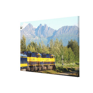 Alaska Railroad locomotive train engine & mountain Canvas Print