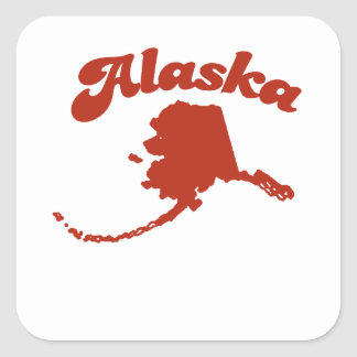 ALASKA Red State Square Stickers