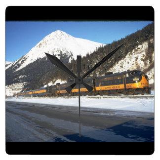Alaska RR F-7 #1502, with train_Trains Clock