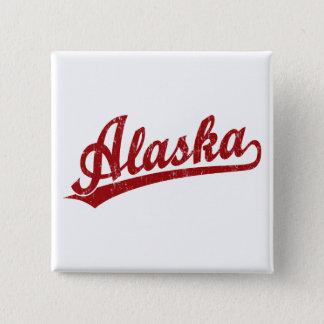Alaska script logo in red 15 cm square badge
