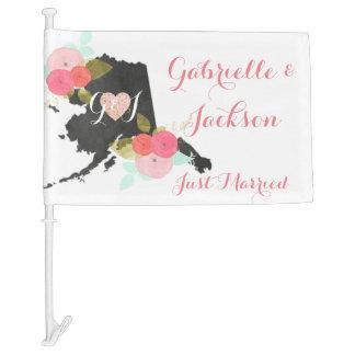 Alaska State Chic Floral Wedding Just Married Car Flag
