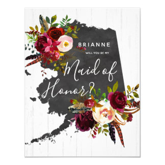 Alaska State Floral Will You Be My Maid of Honor Card