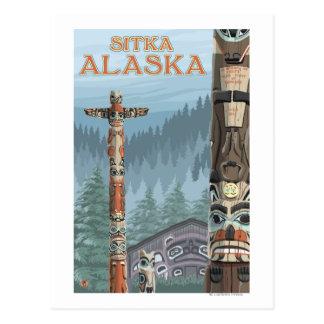 Alaska Totem Poles - Sitka, Alaska Postcard