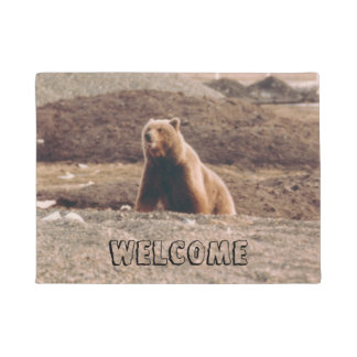 Alaska Tundra Grizzly Welcome Photo Printed Doormat