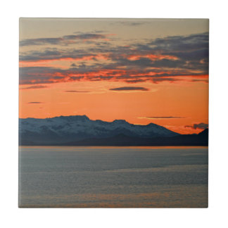 Alaska Vibrant Orange Sunset Ceramic Tile