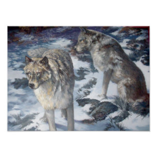 Alaska Wolf Pair in the winter poster