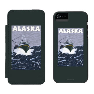 AlaskaCrab Boat Vintage Travel Poster Incipio Watson™ iPhone 5 Wallet Case