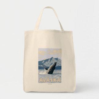 AlaskaHumpback Whale Vintage Travel Poster Canvas Bag