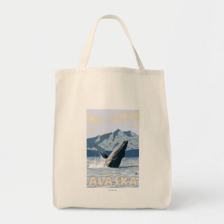 AlaskaHumpback Whale Vintage Travel Poster Bags