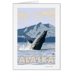 AlaskaHumpback Whale Vintage Travel Poster Greeting Cards
