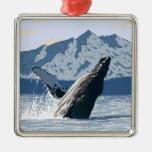 AlaskaHumpback Whale Vintage Travel Poster Ornament