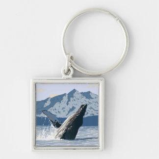 AlaskaHumpback Whale Vintage Travel Poster Keychains
