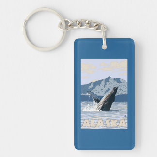AlaskaHumpback Whale Vintage Travel Poster Rectangular Acrylic Keychain