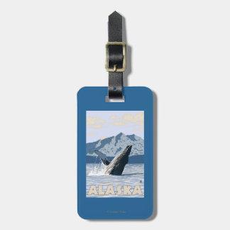 AlaskaHumpback Whale Vintage Travel Poster Bag Tag