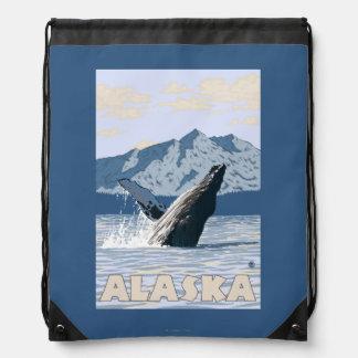 AlaskaHumpback Whale Vintage Travel Poster Drawstring Backpacks