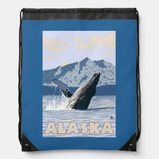 AlaskaHumpback Whale Vintage Travel Poster Drawstring Bags