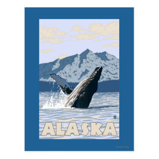 AlaskaHumpback Whale Vintage Travel Poster Post Cards