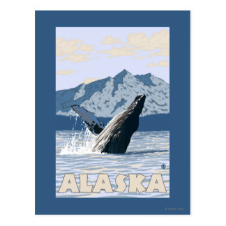 AlaskaHumpback Whale Vintage Travel Poster Post Card