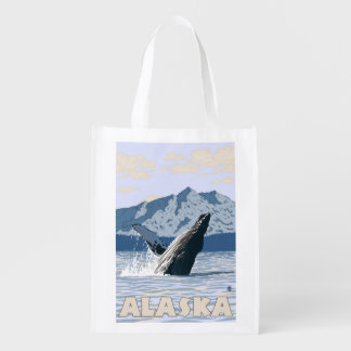 AlaskaHumpback Whale Vintage Travel Poster Market Tote