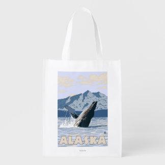 AlaskaHumpback Whale Vintage Travel Poster Grocery Bag