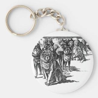 Alaskan Eskimo sled dog Basic Round Button Key Ring