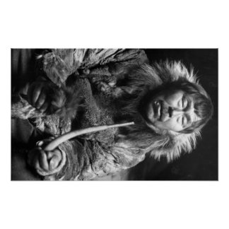 Alaskan Eskimo Smoking Pipe Photograph Posters