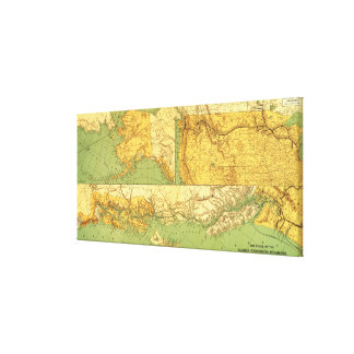 Alaskan Excursion Steam RoutePanoramic Map Canvas Prints